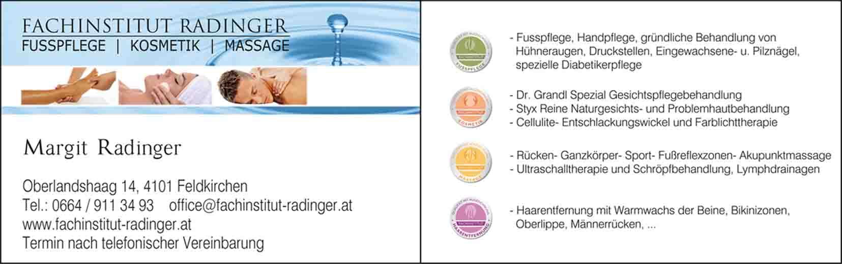 Fachinstitut Radinger Fußpflege Kosmetik Massage